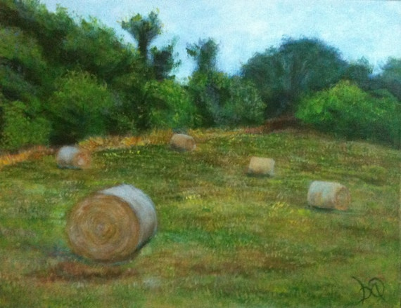Original Landscape Painting Field of Hay Bales- Beautiful Field