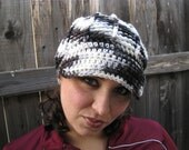 SALE--- WAS 17.00 Newspaper Colored Comfy Ribbed Crocheted Hat with Brim