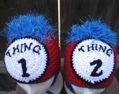 SALE--- WAS 45.00 Twin Hats Thing One and Thing Two Dr. Seuss Fan Art ---- Custom Orders