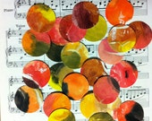 75 Plus Hand Punched Tempera Painted Paper Circles