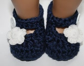 Crochet knit navy blue baby girl mary janes slippers booties shoes with white flower newborn 0-3 months 3-6 months