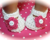 Baby Girl Shoes Mary Janes Slippers White and Hot Pink Flower Shower Gift Newborn 0-3 3-6