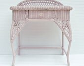 Pink Whicker Vanity, Antique Vanity, Painted Vanity Shabby Table Antique Painted Furniture Cottage Chic Romantic Girls Vanity Hand painted