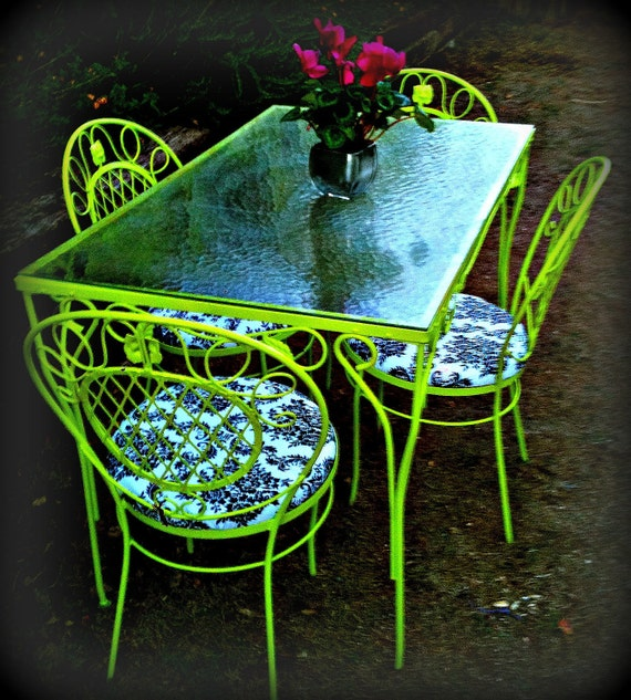 Items similar to lime green outdoor table and chairs on Etsy