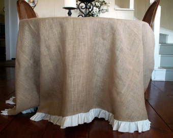 "96"" Round Natural Burlap Tablecloth with White Torn Linen Ruffle"