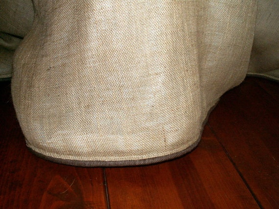 "78"" Round  Burlap Tablecloth with Brown Burlap Cording"