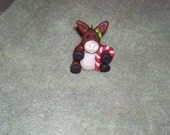 Donkey Christmas ornament  with candy cane