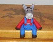 Dillon the Donkey Farmer (polymer clay ) Shelf sitter