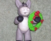 Donkey Christmas ornament with wreath, Polymer clay