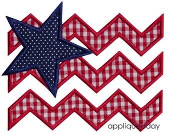 Satin Chevron Flag Applique (Machine Applique Embroidery Design) Instant Digital Download by Applique a Day 4x4 5x7 6x10