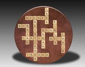 Personalized Family Names with Scrabble Tiles - Pocket Mirror, Magnet, Bottle Opener or Pin
