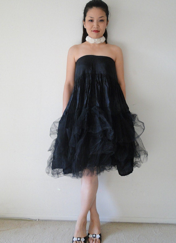 SALE Black swan tulle Party Dress, skirt,  Marrika Nakk, bridal, goth, fashion - pachamamaLove