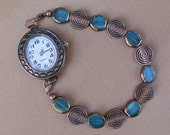 Aqua Glass and Copper Interchangeable Watch Bracelet