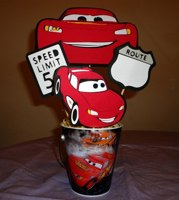 Lightning McQueen Cars Party Bucket Centerpiece