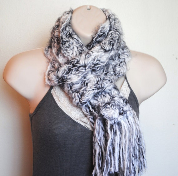 FREE HOLIDAY SHIPPING-  grey and white angel hair scarf-  gifts under 20.00