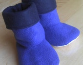 Baby, toddler, children's fleece slipper socks with no-slip soles, royal blue and navy blue, double layered & reversible