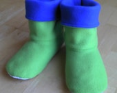 Adult or Youth fleece slipper socks, PICK ANY 2 COLORS, double layered & reversible