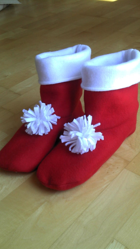 Adult or Youth fleece slipper socks, red and white, double layered & reversible