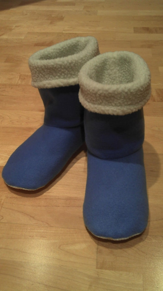 Adult or Youth fleece slipper socks, periwinkle blue with a soft white fleece lining, double layered
