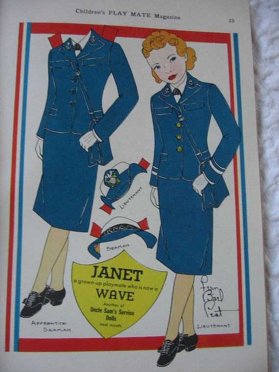 Hat Pattern in Childrens Magazine WW II Era Play Mate with Wave Paper Doll Play Mates for Defense