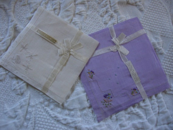 Linen Vintage Handkerchiefs Embroidered Irish Linen Hankies Snow White and Lavender Unused with Original Irish Linen Labels