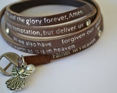 "Humanity Freedom ""Lord's Prayer"" Leather Angel Pearl Charm Bracelet"