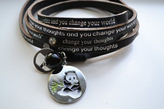 """Humanity Freedom """"Change Your Thoughts"""" Leather Panda Bear Charm Bracelet"""