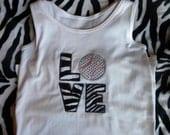 "Embroidered Team Spirit Shirts ""Love"" Baseball"