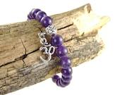 Amethyst Zen Bracelet for Peace, Purple OM Bracelet