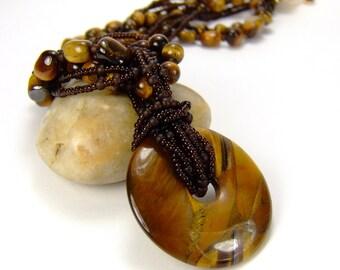 Yellow Gemstone Necklace, Tigers Eye Gemstone Necklace, Solar Plexus Chakra Necklace