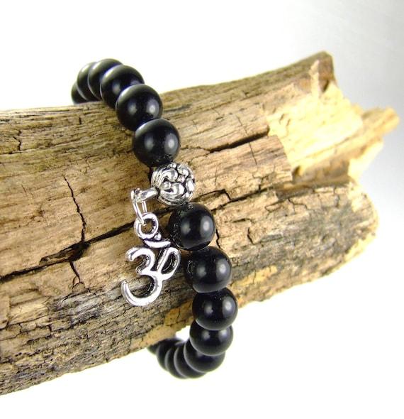 Rainbow Obsidian Black Energy Bracelet for Protection, OM Bracelet