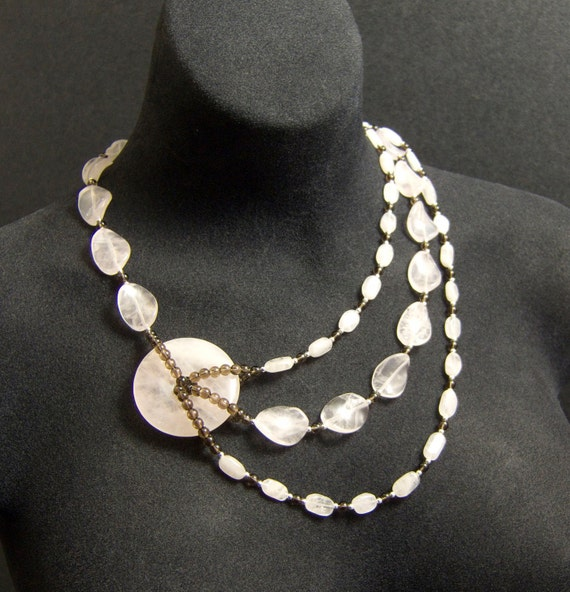 Pink Statement Necklace, Chunky Rose Quartz Necklace, Heart Chakra Necklace