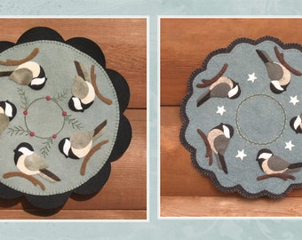 My Little Chickadees Wool and Wool Felt Candle Mat Pattern