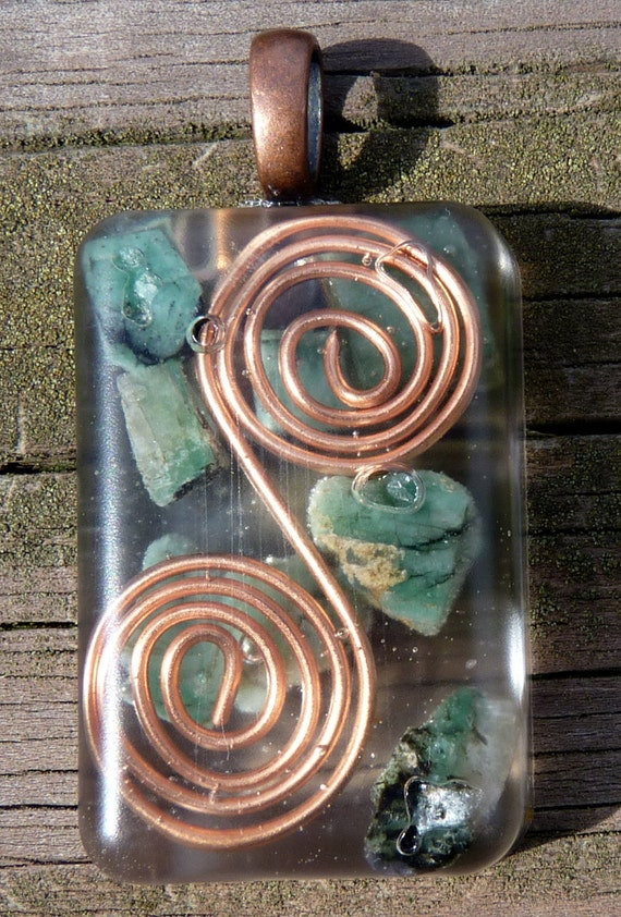 Emerald filled Orgone Energy Pendant with Copper Spirals.  Electromagnetic Smog Protection.