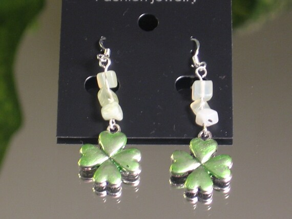 """Lucky Clover gemstone Earrings with 925 Sterling Silver Ear wires. Green 4 leaf clovers dangle approximately 1.5"""""""