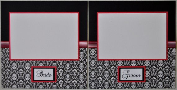 Wedding Album - 8X8 Red and Black Premade Scrapbook Wedding Album
