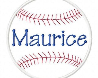 Sports Designs Baseball Design with Personalized Name inside Embroidery Applique Design, 4 sizes