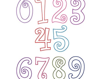 Fonts - Curlz Applique Fonts - Curlz Applique Numbers Machine Embroidery Designs for 4x4,  5x7 and 6x10 hoops - Instant Download