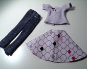 Barbie Casual Day Out Outfit - Denim Leggings with Circle Skirt and Short Sleeve T-Shirt  (Listing for Vicki)