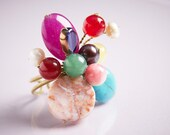 Ring with Multicolor Beads (purple, violet, pink, blue, red), Bohemian style, Boho Chic