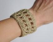 Linen Crocheted Bracelet, Unisex Hipster Jewelry by HappyEmotions,  Boho Style (T009)
