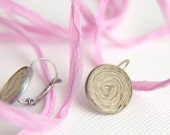 Linen Round Earrings, Eco, Boho Style, by HappyEmotions