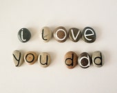 Father's Day Gift Idea, 11 Magnets Letters, Custom Quote, Beach Pebbles, Inspirational Word or Quote, Sea Stones, Personalized