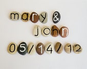 Save the Date, Beach Pebbles, 17 Magnet Letters, Custom Names and Date, Gift Ideas for Just Married, Sea Stones, Personalized, Rocks