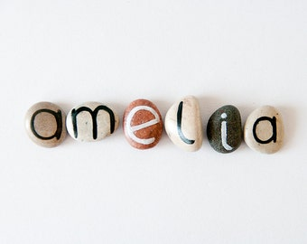 6 Magnets Letters, Custom Name, Amelia, Beach Pebbles by Happy Emotions, Gift Ideas, Sea Stones, Personalized, Rocks