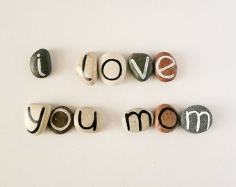Gift Idea for Moms, Mother's Day, 11 Magnets Letters, Custom Quote, Beach Pebbles by Happy Emotions, Inspirational Word or Quote, Sea Stones