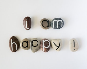 I am Happy, 9 Magnets Letters, Custom Quote, Beach Pebbles, Inspirational Word or Quote, Gift Ideas, Sea Stones, Personalized, Rocks