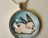 Blue Rabbit Pendant, Woodland Art Pendant, Hand Painted Jewelry