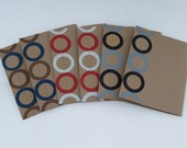 Sewn Paper Note Cards- Blank- Set of 6- Masculine Colors