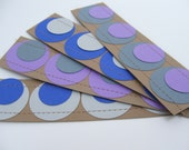 Sewn Paper Bookmark- Blue, Purple, Gray- Set of 4